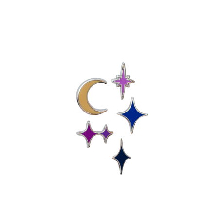 Mini Stars and Moon (5) Enamel Pin Collection