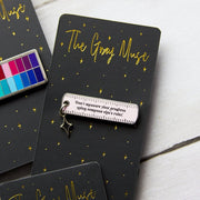 Progress Ruler with Charm Enamel Pin