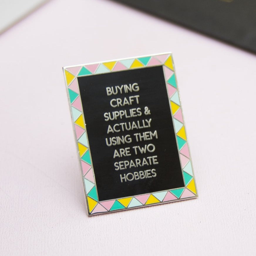 Two Separate Hobbies Frame Enamel Pin