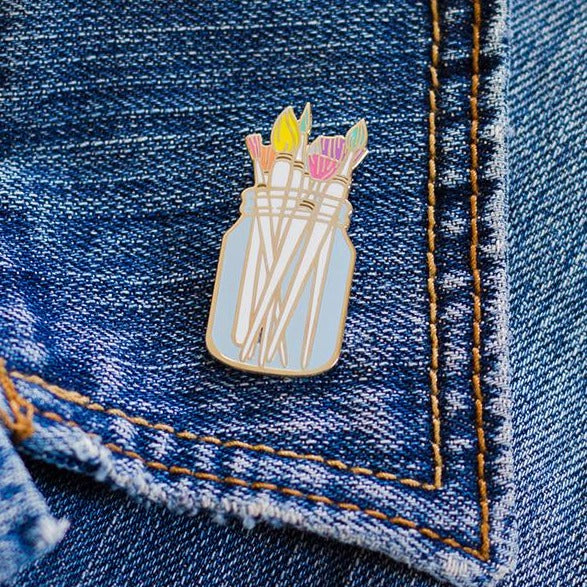 Paint Brushes Enamel Pin - The Gray Muse