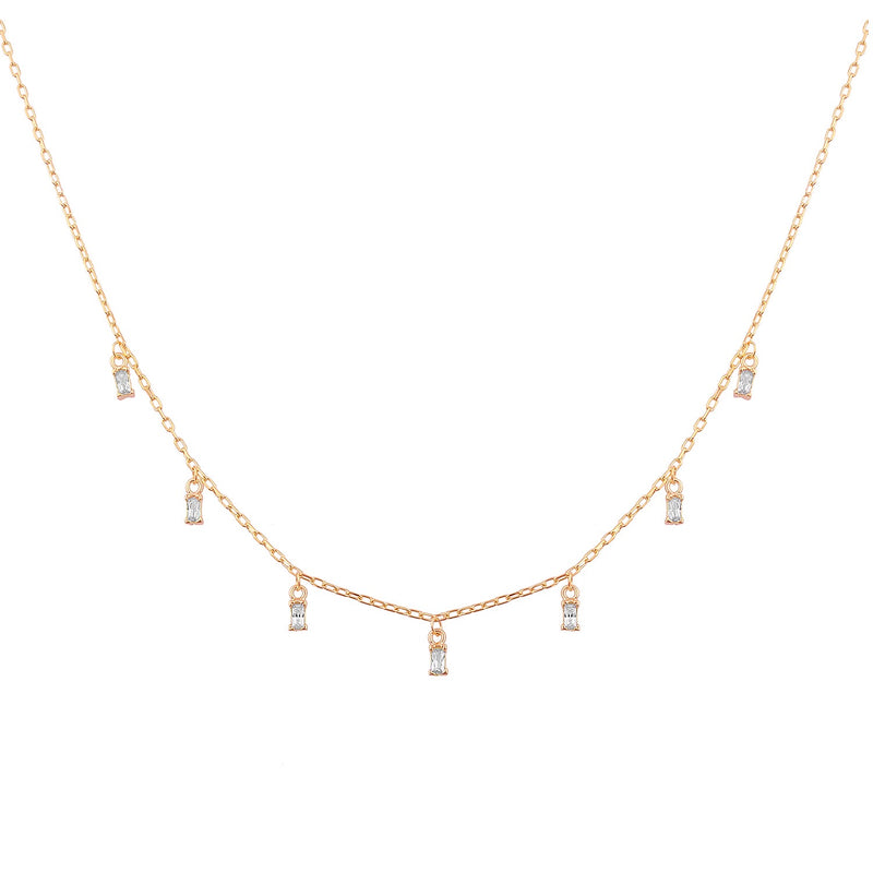 Baguete mini necklace rose gold
