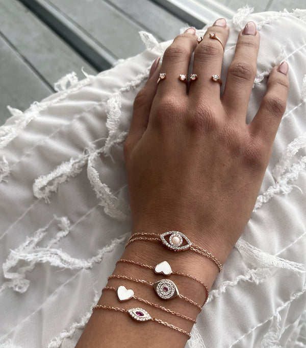 BRACELET HEART WHITE ROSE GOLD