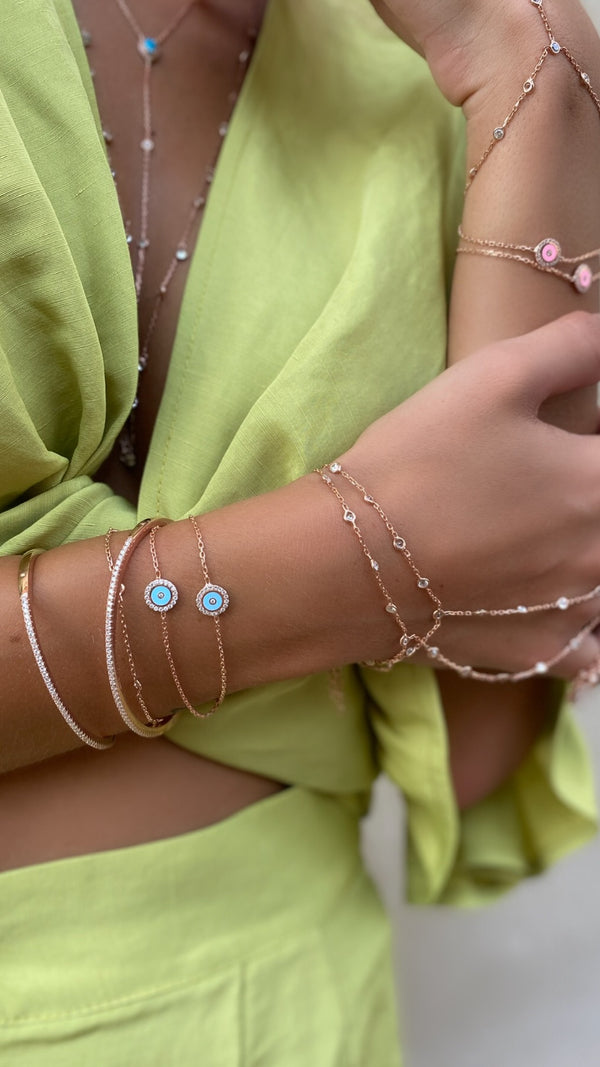 bracelet MINI EYES BABY BLUE ROSE GOLD