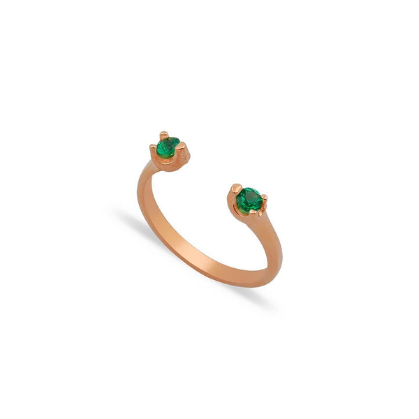 ISABELLA RING GREEN ROSE GOLD