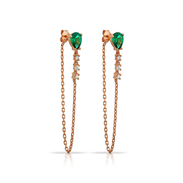 ADRIANA EARRING ROSE GOLD GREEN