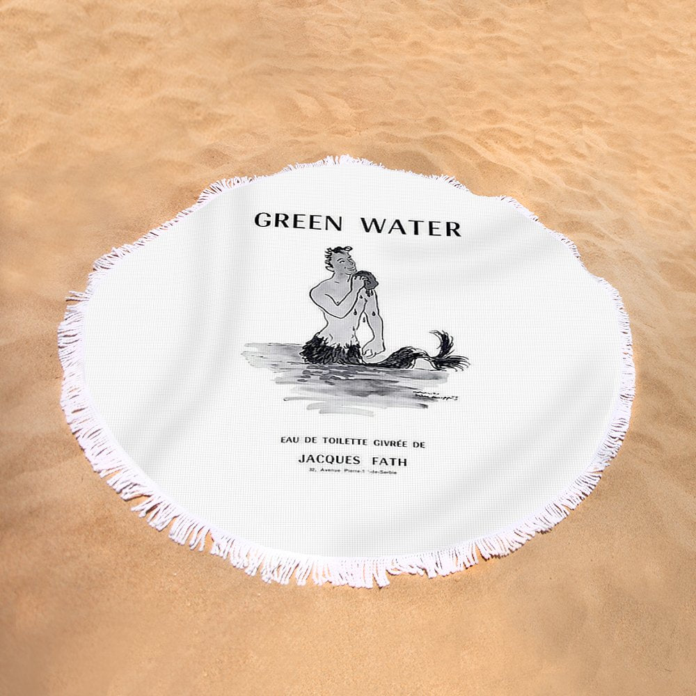 A Merman  Green Water Cologne Vintage Ad- Round Beach Towel