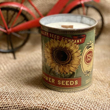 Soy Wax Candle | Fireplace In A Can | Rustic Sunflower Seed Package
