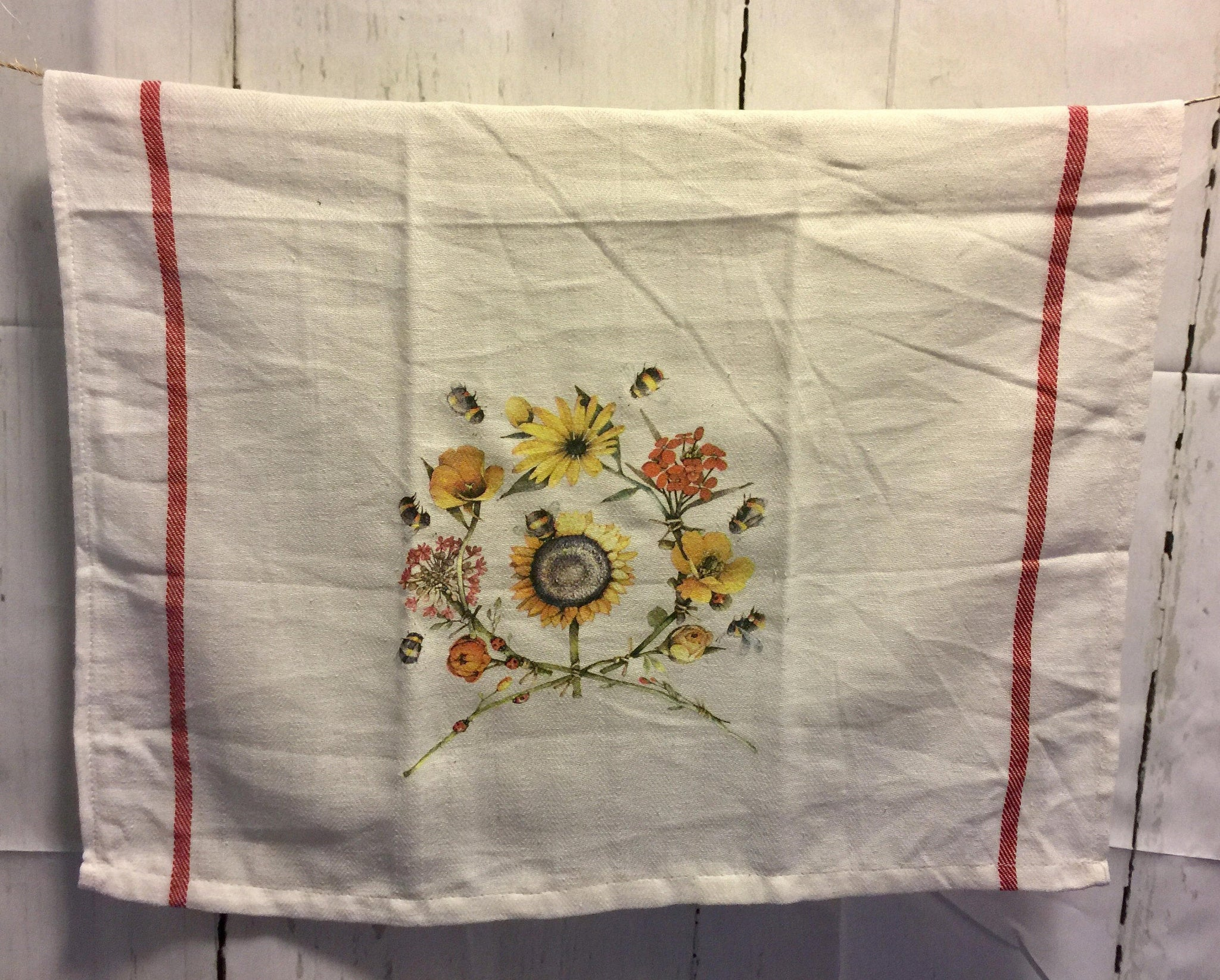Retro Stripe Kitchen Towels- Tea Towels- Busy Sunflower Bees - 18