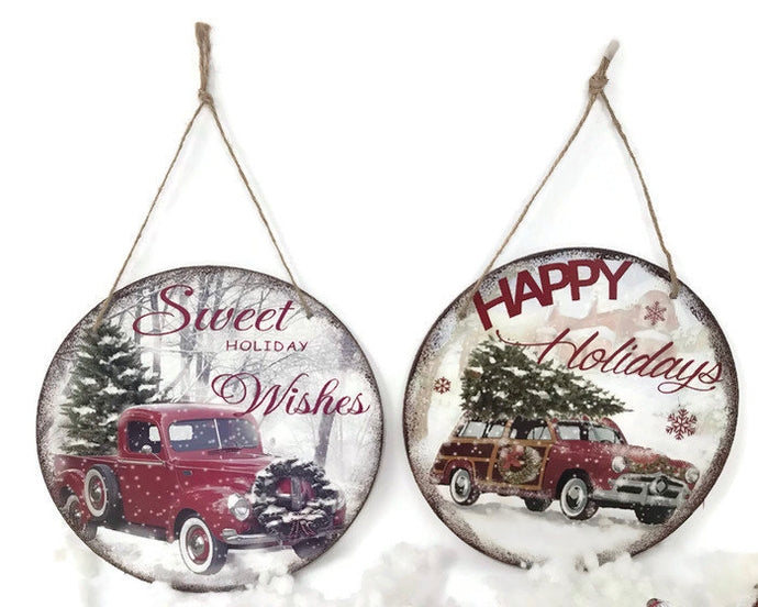 Retro Rustic Classic Car with Christmas Tree Wall Hanging Plaque