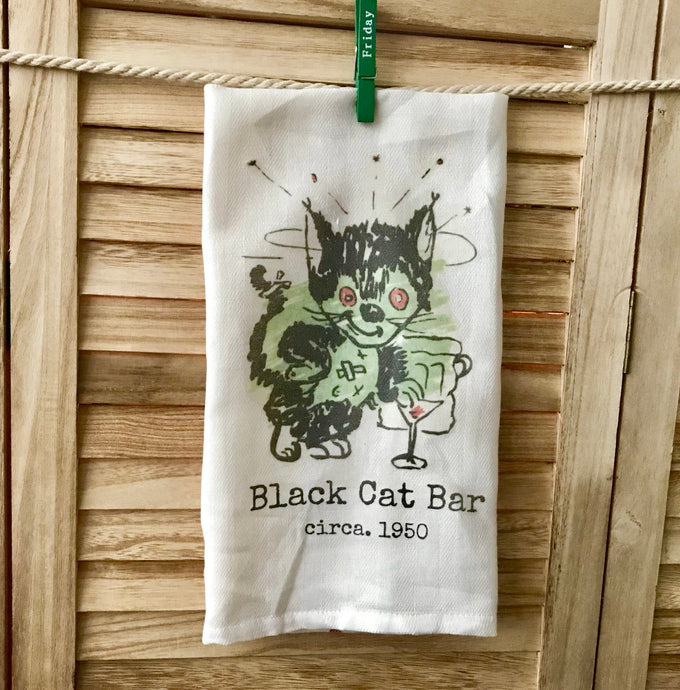 Black Cat Bar 1950 Retro Kitchen Towel