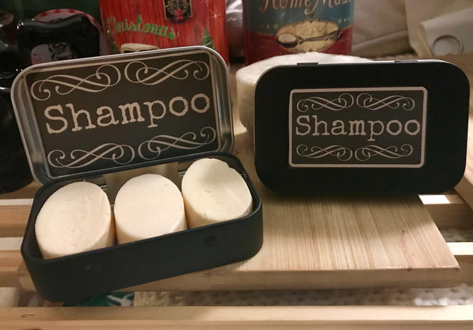 Goat Milk Shampoo Conditioning Bars and Travel Tin