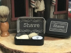 Mini Travel Shave Soap + Shave Brush Kit Tin
