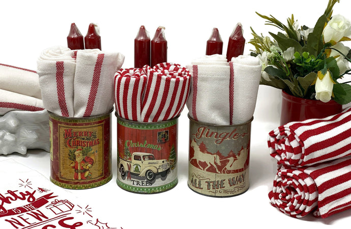 Retro Stripe Kitchen Towel & Federal Candle Git Set Can | Christmas
