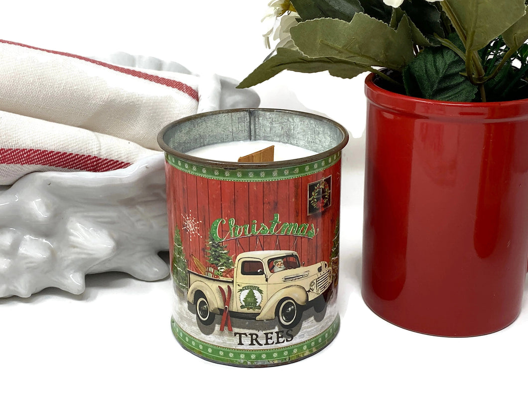 Soy Wax Candle | Fireplace In A Can |  Wood Wick