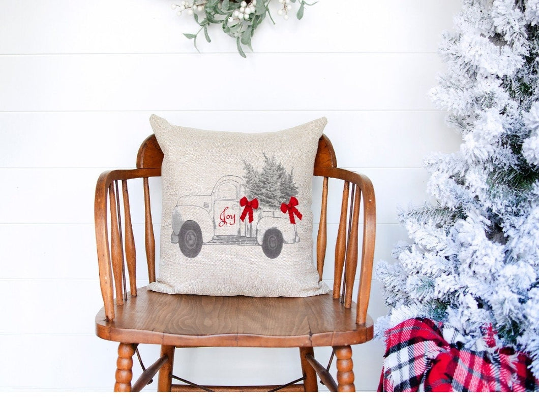 Chesilhurst Farm Holiday Joy Pillow Cover |  Natural Cotton Canvas | 18