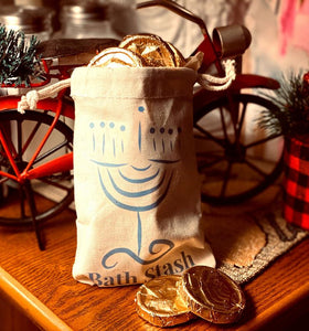 Hanukkah Gelt Soap Coins and Bag | Bath Stash Soap
