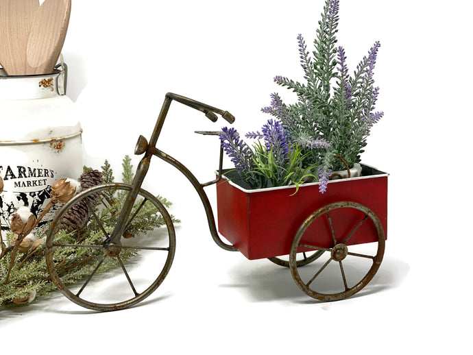 Rustic Red Bike with Bin | Vintage Style Tricycle