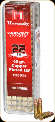 Hornady 22lr 40gr Copper Plated HP 1160 FPS
