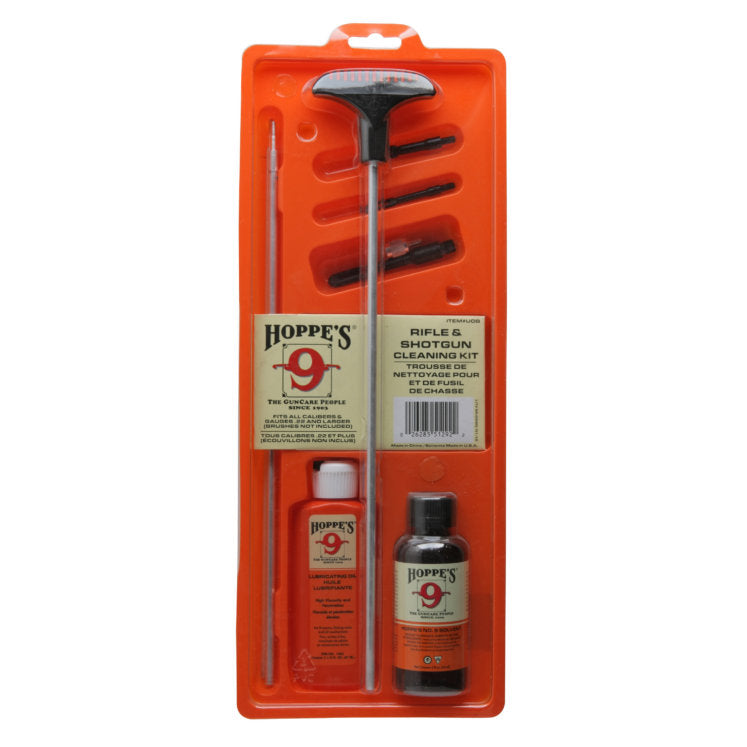 Hoppes #9 Rifle/Shotgun Cleaning Kit, Fits all calibers & gauges .22 and larger #UOBCN