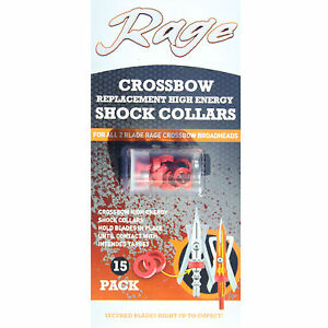 Rage Crossbow Replacement Shock Collarrs,High Energy 15pk, Red