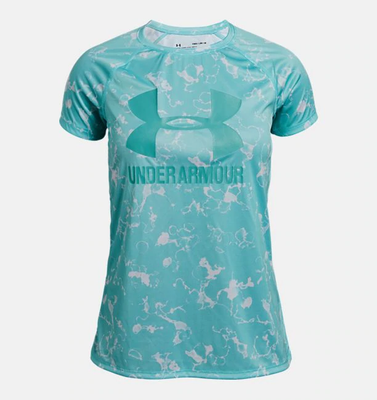 UA: Youth Girls Big Logo Tee Novelty, Neo Turquoise