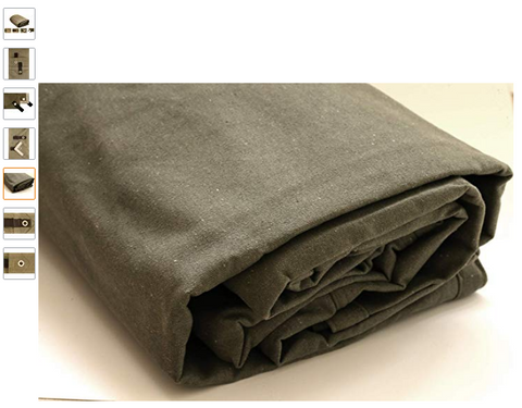 """Canvas Tarp Heavy Duty Cotton Polyester Ripstop Tarpaulin Waterproof Mold /& UV Resistant with Rustproof Grommets Cut Size: 12x20, Finished Size: 11/'6x19/'6/"""", Brown Reinforced Edges /& Corners"""