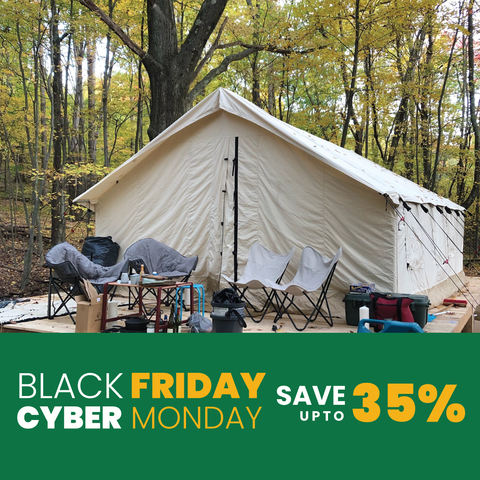 Best black friday cyber monday sale on canvas wall tents and canvas bell tents in USA