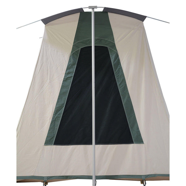 Wall Tent 12' x 14' made from 100% Breathable Cotton Canvas Fabric w/ Water & Fire Repellent Treatment, Aluminium Frame, High Quality zippered doors & Stove Jack Hole ideal for Winter & Mountain Hunting Elk, Deer & Fishing