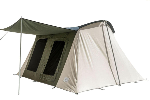 Family Cabin Tent Basic 10' x 14' Olive & Brown made from 100% Breathable Cotton Canvas Fabric w/ Waterproof & UV Treatment, springbar T-pole Frame, Large D-shaped Doors & Windows, & Silver coated Roof ideal for 8 people Glamping