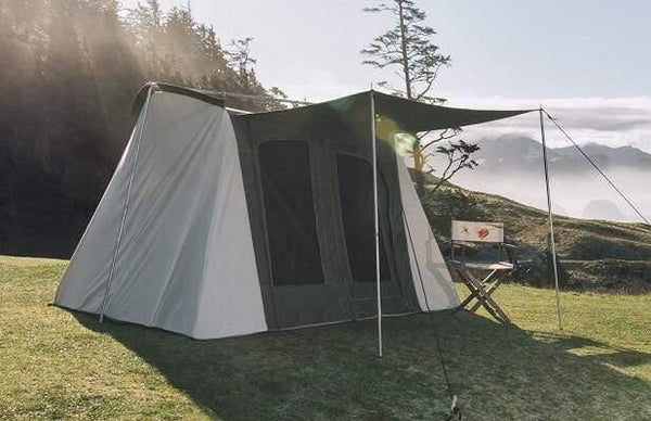 Family Cabin Tent Basic 10' x 14' Olive & Brown made from 100% Breathable Cotton Canvas Fabric w/ Waterproof & UV Treatment, springbar T-pole Frame, Large D-shaped Doors & Windows, & Silver coated Roof ideal for 8 people Family Camping