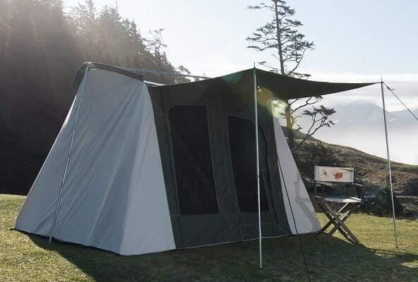 Family Cabin Tent Basic 10' x 10' Olive & Brown made from 100% Breathable Cotton Canvas Fabric w/ Waterproof & UV Treatment, springbar T-pole Frame, Large D-shaped Doors & Windows, & Silver coated Roof ideal for 6 people Family Camping