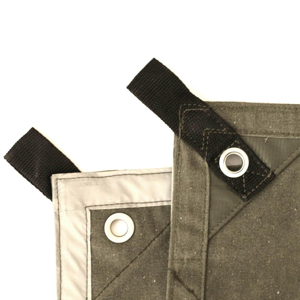 100% cotton canvas tarp covers, tarpaulins with Polypropylene loops on every grommet to insert rope for All Round Tensioning and Reflective tape at corners for visibility at night for all kind of use