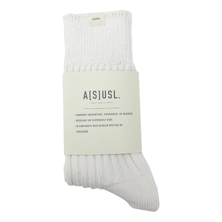 A[S]USL SIGNATURE SOCKS [LONG RUN ITEM]-WHITE