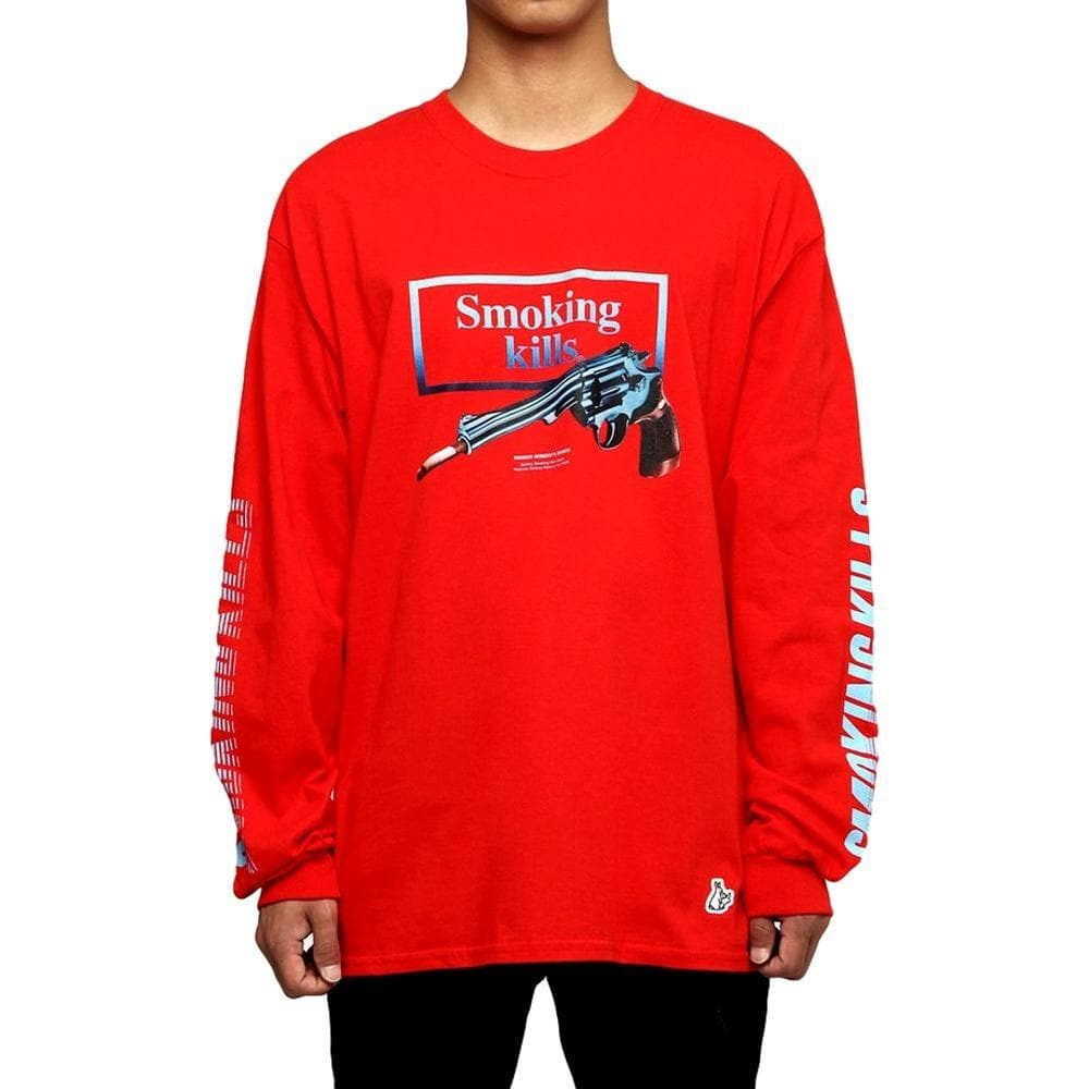 11f0091f99c FUCKING RABBIT SMOKING GUN LS TEE -RED - Popcorn General Store