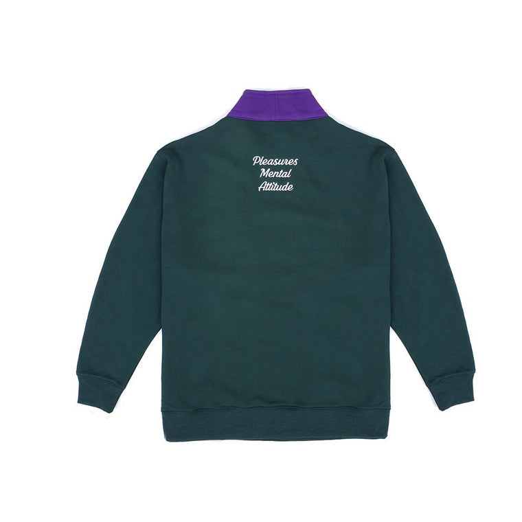 PLEASURES PMA QUARTER ZIP -GREEN
