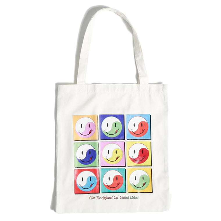 CLOT TEE SMILEY TOTE BAG -WHITE