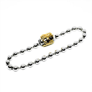 Bill Wall leather BALL CHAIN BRACRELET-SILVER