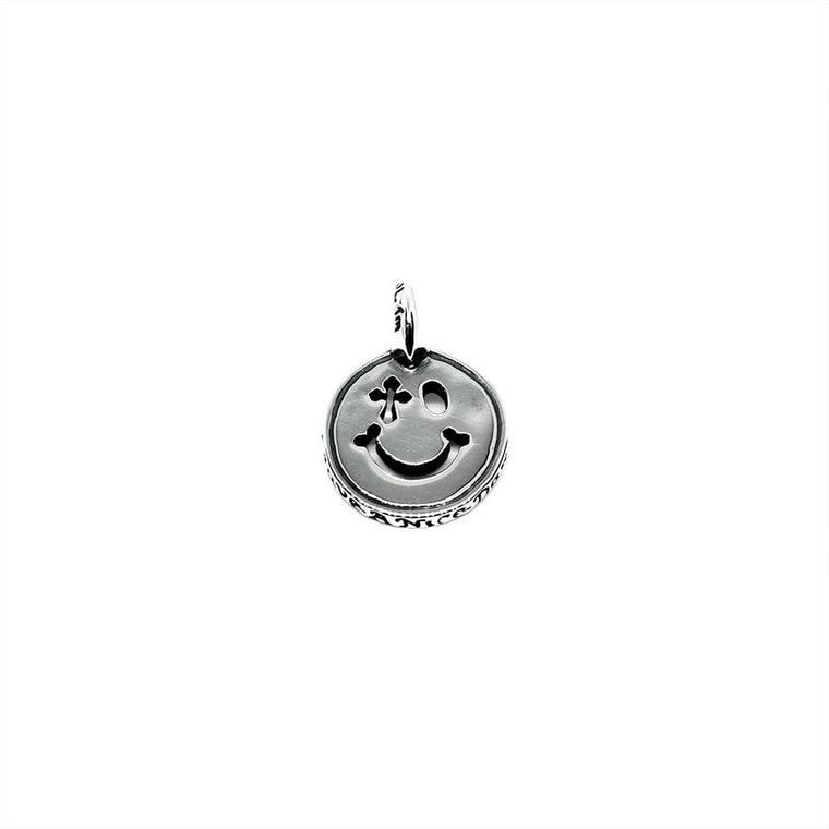 Bill Wall leather HAPPY FACE CHARM-SILVER