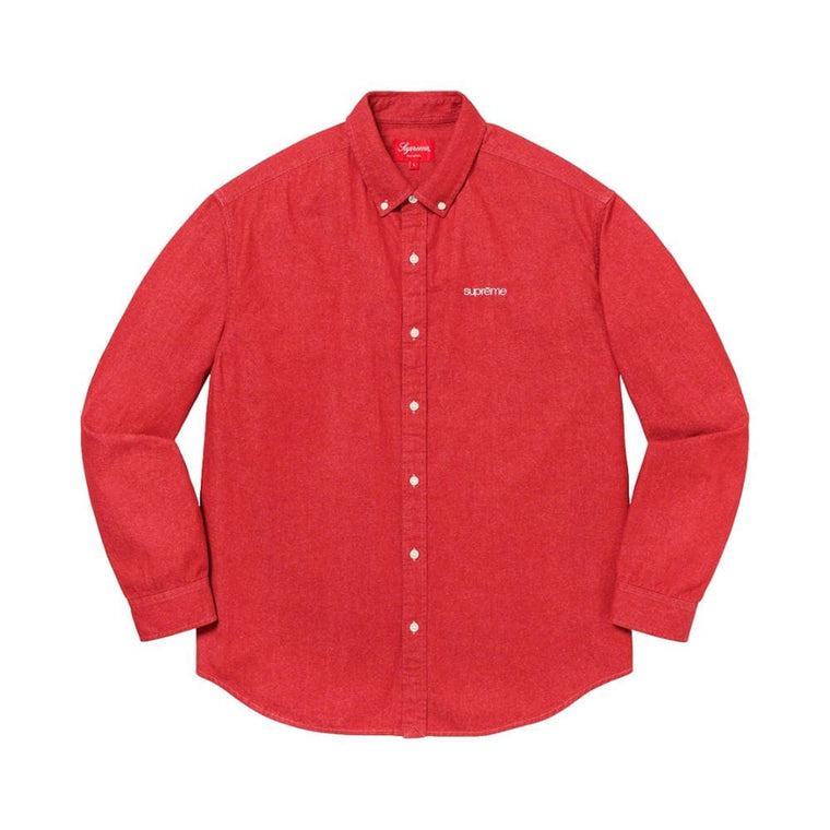 SUPREME CLASSIC LOGO DENIM SHIRT-RED