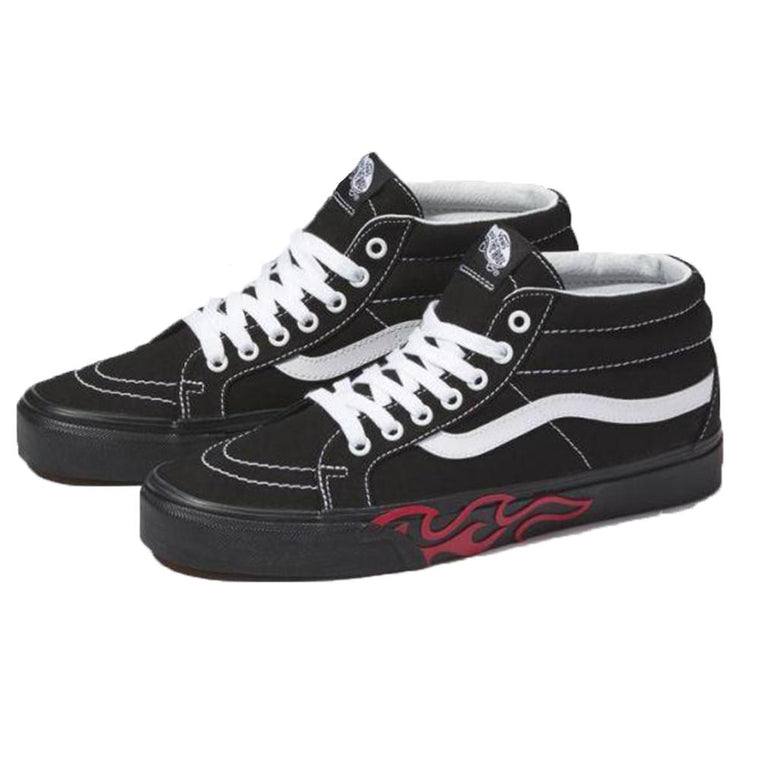 Vans FLAME CUT OUT SK8-MID REI -BLACK