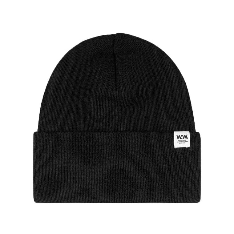 WOOD WOOD GERALD TALL BEANIE -BLACK