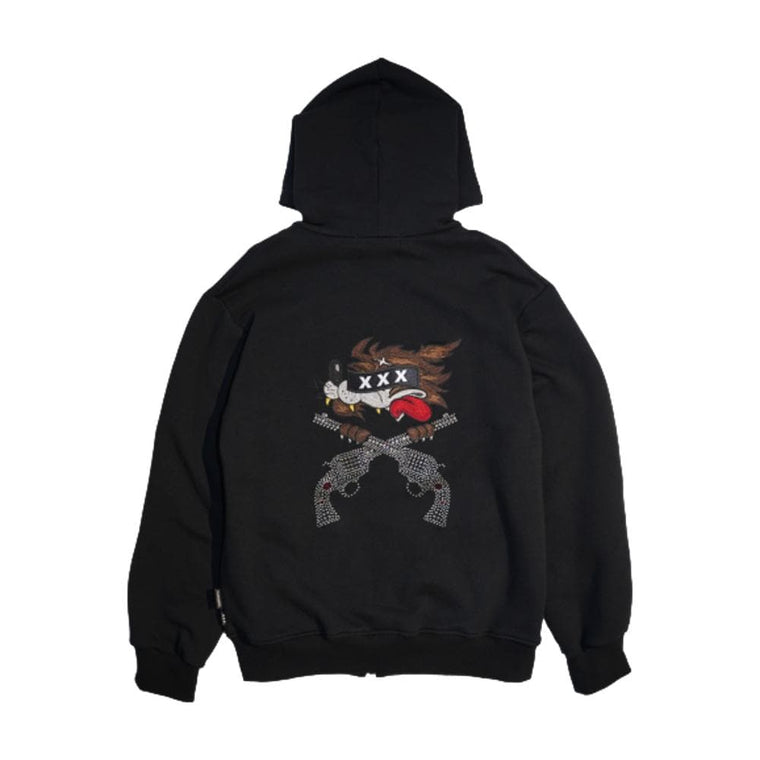 God Selection XXX ZIP HOODIE-BLACK