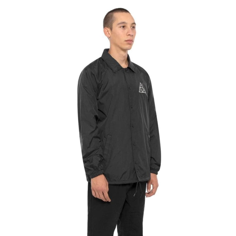 HUF ESSENTIALS TRIPLE TRIANGLE COACHES JACKET-BLACK
