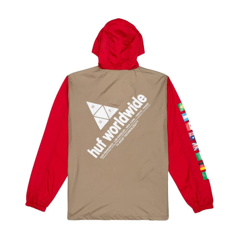 HUF FLAGS ANORAK JACKET-RED