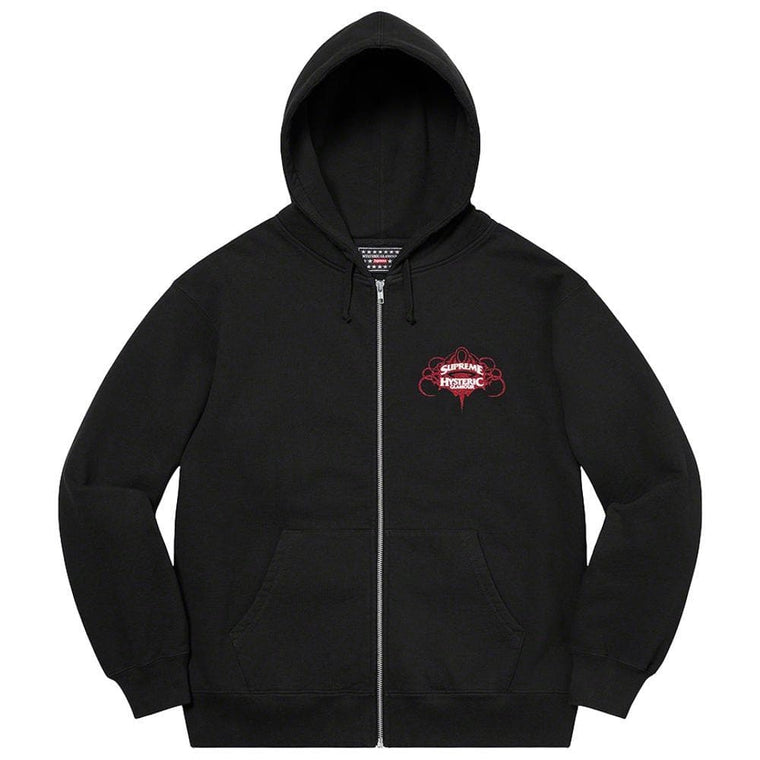 SUPREME HYSTERIC GLAMOUR ZIP UP HOODED SWEATSHIRT-BLACK