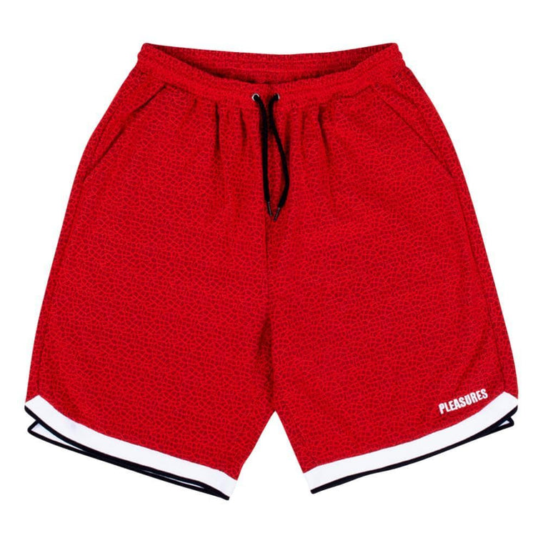 PLEASURES LACE BASKETBALL SHORT -RED