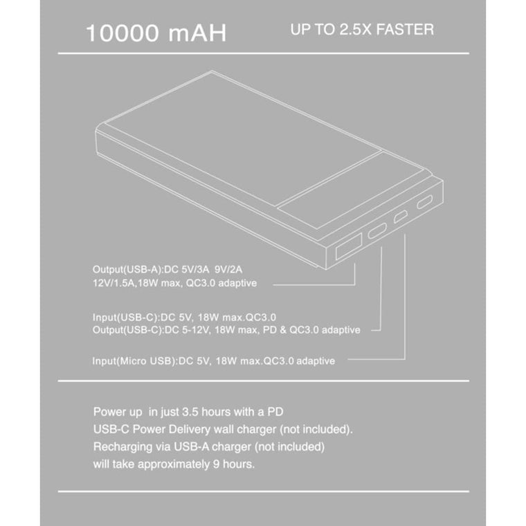 M. CRAFTSMAN 10000 MAH POWER BANK-GREY