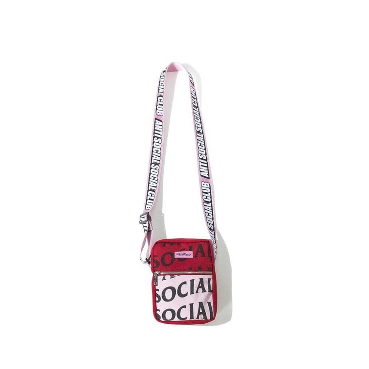 AntiSocialSocialClub NO PLASTIC PINK TOTE -RED