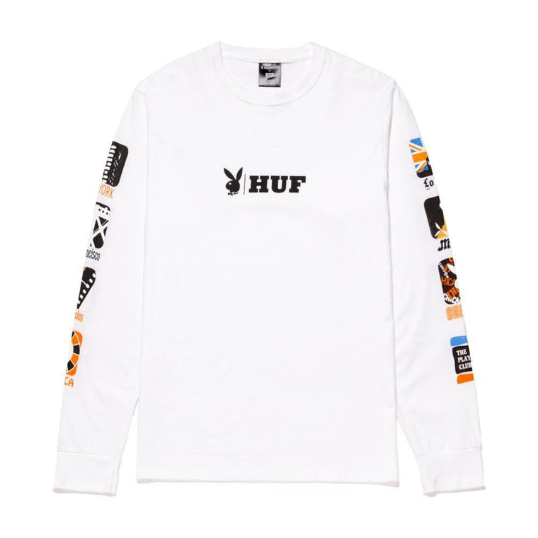 HUF PLAYBOY CLUB INTL L/S TEE-WHITE