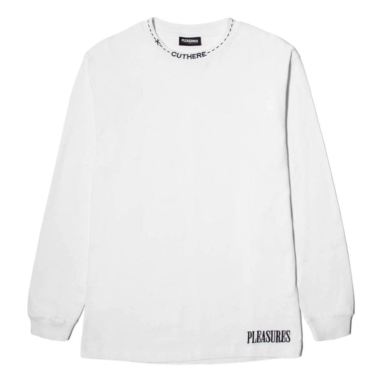 PLEASURES CUT HERE HEAVYWEIGHT LS T -WHITE